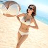 韩国比基尼泳衣女钢托聚拢大小胸黑白色性感bikini 温泉维多
