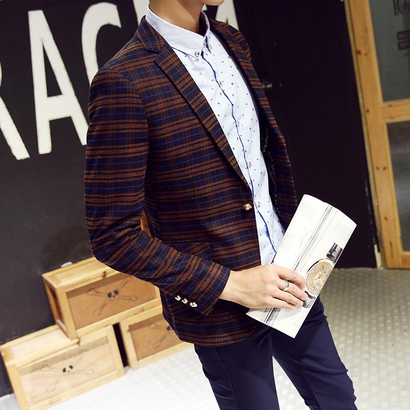 秋季新款男士西服休闲外套韩版修身时尚青年小西装潮流时尚上潮衣