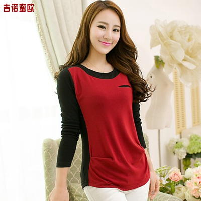 The new autumn and winter 2014 women's long-sleeved T-shirt Korean lady was thin plus thick velvet backing shirt blouses tide