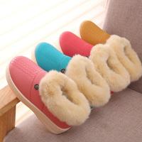 金磊冬季男女室内外保暖鞋厚底防滑月子鞋防水PU皮情侣棉拖鞋包跟