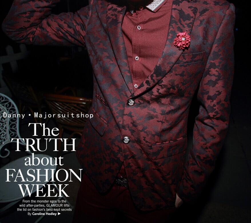 热卖型男修身西装红黑纹路独特印花超舒身西装欧美范西装西服