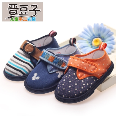 Jin beans children handmade shoes spring models for children baby boy toddler shoes soft bottom shoes canvas shoes home shoes
