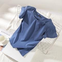 2018夏装纯色学生圆领紧身上衣打底衫白色半袖短袖t恤女