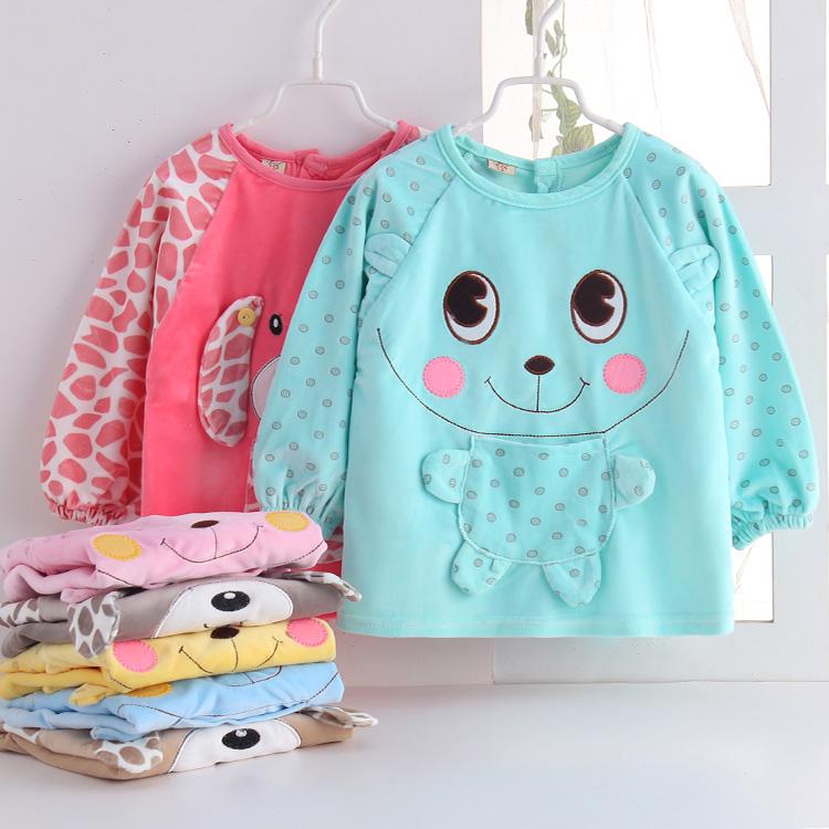 春秋冬婴儿罩衣 宝宝水晶绒反穿衣 儿童纯棉厚款防水倒褂卡通罩衣