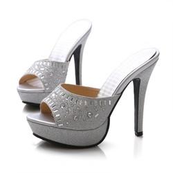 超高跟防水台女凉鞋水钻细跟凉拖鞋性感鱼嘴女鞋夜店女鞋金银色