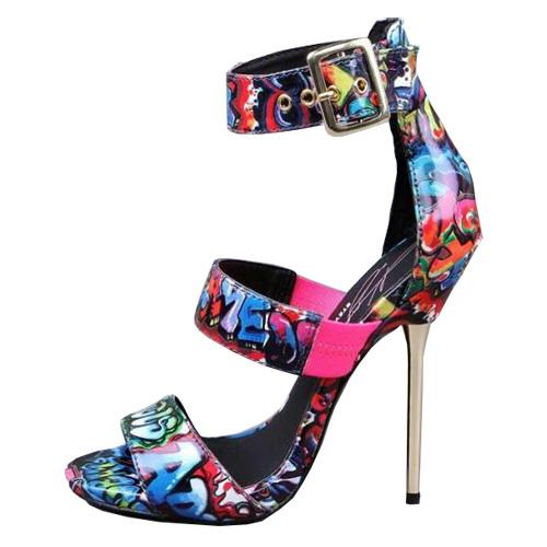 超高跟花色金属跟凉鞋 性感大牌