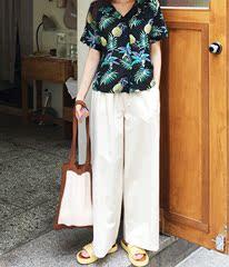 韩国2018夏季女森林系复古直筒纯色街头英伦阔脚裤长裤子