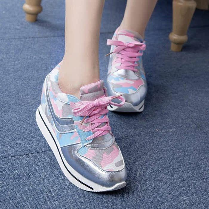 2014秋季新款韩版内增高女鞋高帮运动休闲鞋学生系带迷彩坡跟单鞋