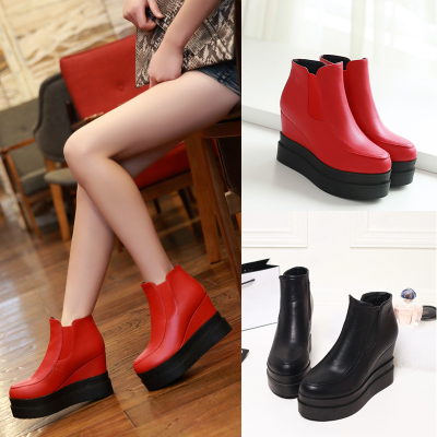 2014 autumn and winter boots slope with thick crust muffin Korean high-heeled boots Duantong Martin boots naked boots Shoes Boots