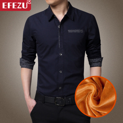 Men's winter warm long-sleeved shirt Slim plus thick velvet cotton men's casual shirt solid Korean yards