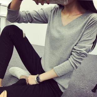 春秋新款韩版显瘦纯色长袖V领t恤 学生大码打底衫女修身小上衣潮