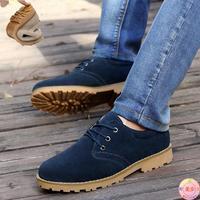男士板鞋韩版牛筋底耐磨青年休闲鞋英伦反绒皮系带低帮鞋男鞋潮流