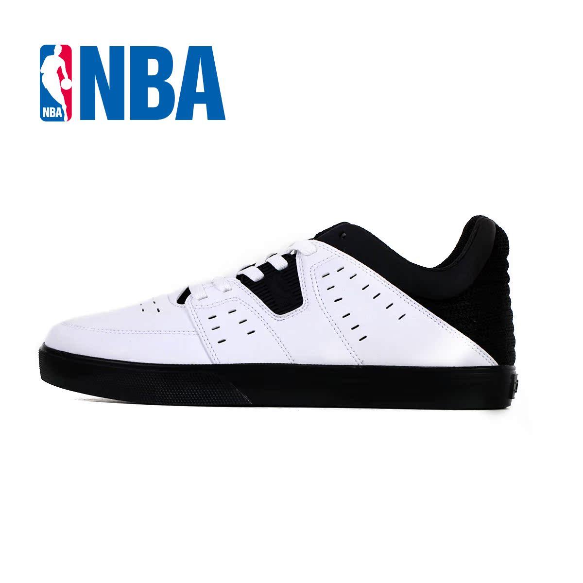 nba鞋会 球鞋新款篮球文化鞋 黑白休闲时尚护踝防滑系带低帮板鞋图片