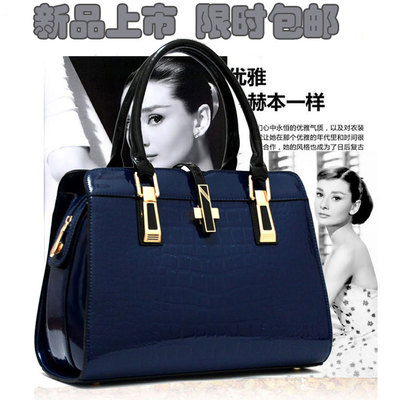 Authentic handbags 2014 new brand fashion bags ladies handbags women patent leather crocodile pattern shoulder Messenger