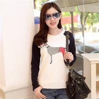 2015年春款新品线条斑马图韩版女装圆领插肩袖长袖女t恤打底衫