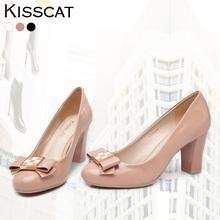 kisscat接吻猫2014春款K44118-03QB真皮蝴蝶结高跟鞋粗跟单鞋女鞋图片