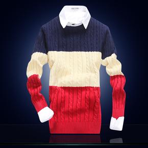 冬装加厚男士毛衣潮 韩版修身圆领针织衫男 长袖羊毛线衫男装外套