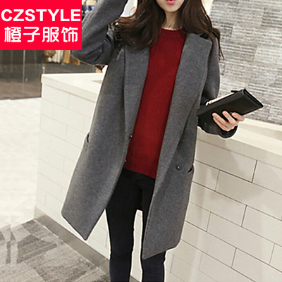 Woolen coat female winter 2014 fall and winter clothes new Korean version of Slim big yards long section leisure thick woolen coat