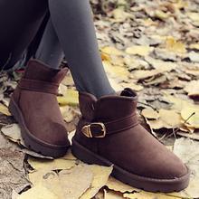 人本雪地靴女短筒平跟女靴子搭扣加绒短靴棉靴冬靴加厚休闲情侣鞋图片