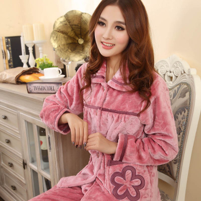 Autumn and winter thick coral fleece pajamas ladies suits XL winter long-sleeved flannel tracksuit Specials