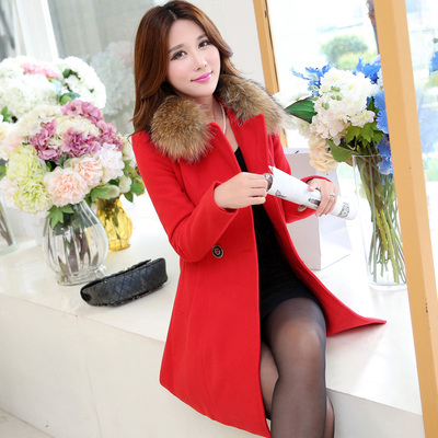 2014 new wool coat and long sections woolen coat female winter clothes women large fur collar Korean Slim