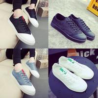 日系男鞋子林弯弯鞋子夏季新款白色休闲鞋男女板鞋时尚布鞋潮流鞋