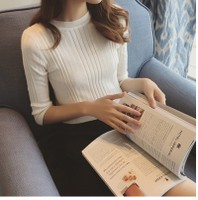 2016秋季新款韩版半高领中袖针织衫修身显瘦套头五分袖毛衣打底衫
