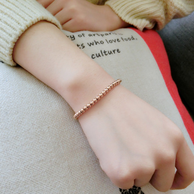 Rose gold color gold bead bracelet female Korean fashion new Korean jewelry 18k titanium steel jewelry does not fade
