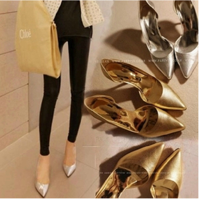 女式中跟单皮鞋_欧美15细跟侧空银色尖头高跟鞋亮片金色水晶婚鞋新娘鞋浅口女单鞋