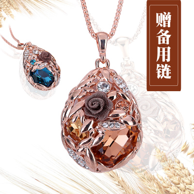 The new autumn and winter wheat chain length sweater Korean wild retro fashion crystal pendant necklace with jewelry woman