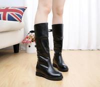 2015春秋新款女靴子高筒靴长靴马丁靴皮平底靴平跟冬韩版潮女鞋