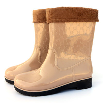 Back in the winter special offer free shipping inflatable rubber boots rain boots sweet detachable velvet slip waterproof khaki Korean Hot