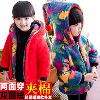 童装女童冬装棉衣外套儿童宝宝圣诞服保暖男童两面穿连帽棉袄6岁