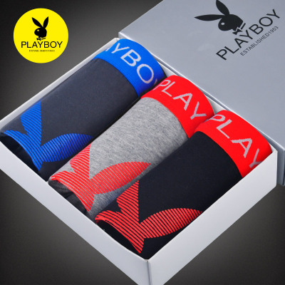 3 mounted Playboy playboy solid big men cotton underwear waist pants sexy boxer shorts tide