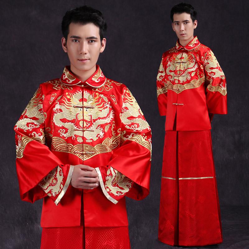 2014新款高档男士古装 唐装中式婚礼服装新郎套装结婚图片