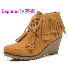 Brand shoes Cowhide tassel wedges DAE250510005 female boots and shoes wholesale not refund don't change