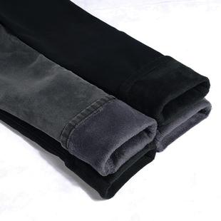 显瘦高腰灰黑色牛仔裤女加绒加厚大码小脚铅笔长裤子冬季
