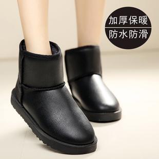 冬季2018防水皮面雪地靴女短筒平底短靴保暖黑色加厚加绒棉鞋
