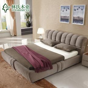 林氏木业布艺床1.5 1.8米双人床软床储物布床简约现代家具R176