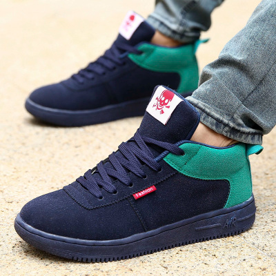 Men's winter padded velvet student high shoes Korean teenagers shoes winter shoes men's casual shoes to help tide