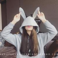 2016秋冬装新款女装潮韩版学生宽松套头兔子耳朵连帽卫衣上衣外套