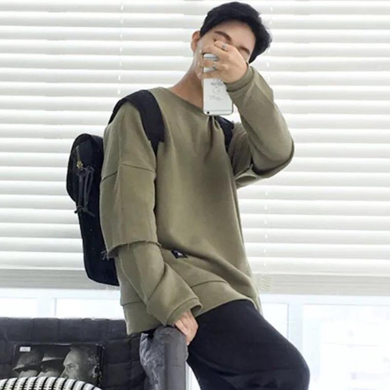 港仔韩国春装个性街头卫衣男圆领套头衫运动韩版假两件外套破洞潮