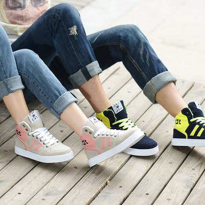 Qiu dong season high help han edition sports casual shoes sandals women shoes skateboarding shoes lovers high help men's shoes