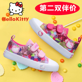 HELLO KITTY童鞋女童帆布鞋2016秋季儿童运动鞋时尚印花布鞋板鞋