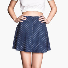2015 summer new wave single-breasted skirts short skirt female small umbrella skirt joker leisure cotton bitter fleabane bitter fleabane skirt