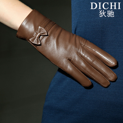 Di Chi leather gloves thick warm winter women lady goatskin gloves plus velvet bow short paragraph can touch