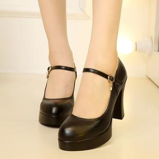 珺美真皮浅口圆头防水台超高跟粗跟女鞋厚底演出鞋一字扣模特鞋