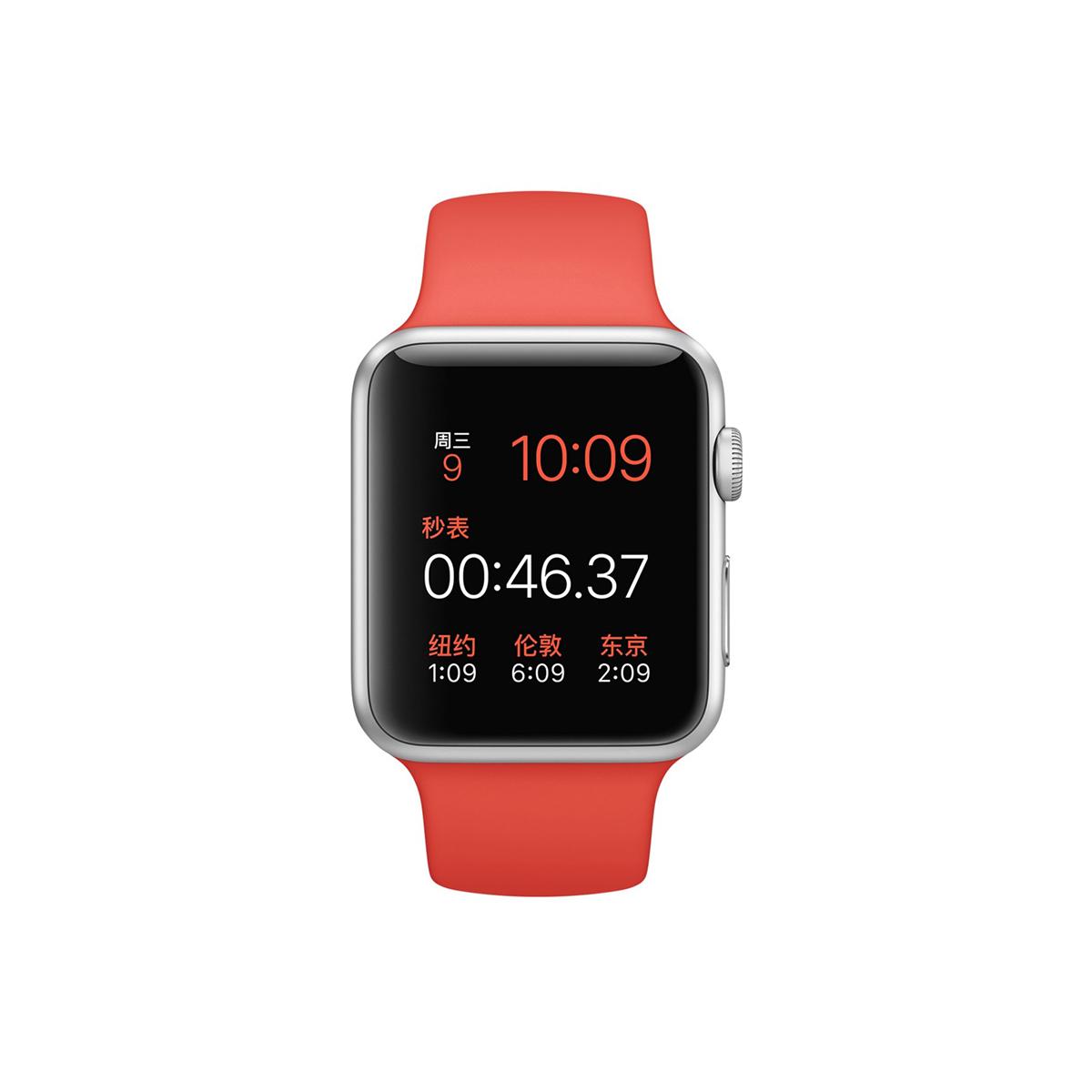 Apple/苹果 Apple Watch 银色铝金属表壳搭配橙色运动型表带