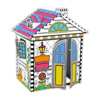 魔卡童儿童手工制作纸房子男童女童手绘涂色DIY小屋亲子互动玩具