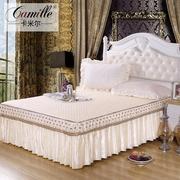 卡米尔欧式蕾丝床裙单件夹棉加厚床罩床笠席梦思床套床单1. 米